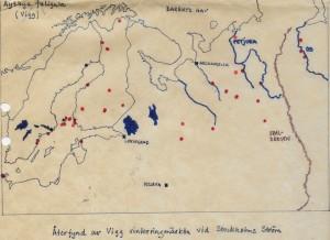 Karta över återfynd av på Strömmen ringmärkta viggar fram till 1976